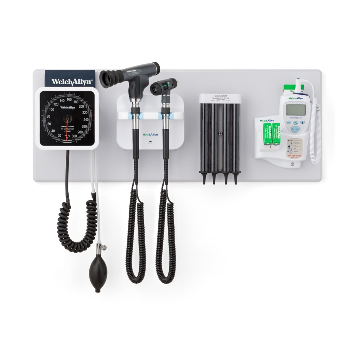 777 Integrated Wall System with BP gauge, otoscope, PanOptic ophthalmoscope, probe covers and SureTemp thermometer