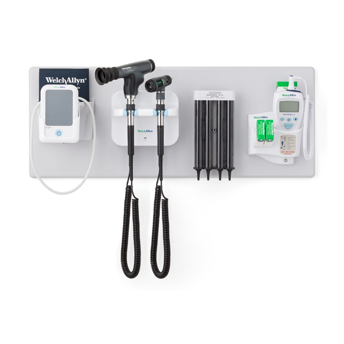 777 Integrated Wall System with ProBP 2000 device, otoscope, PanOptic ophthalmoscope, probe covers and SureTemp thermometer